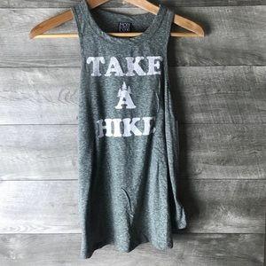 "Modern lux ""take a hike"" graphic gray tank top"